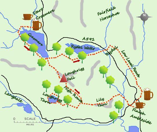 Grasmere to Ambleside map  Explore Grasmere  Pinterest  Lake