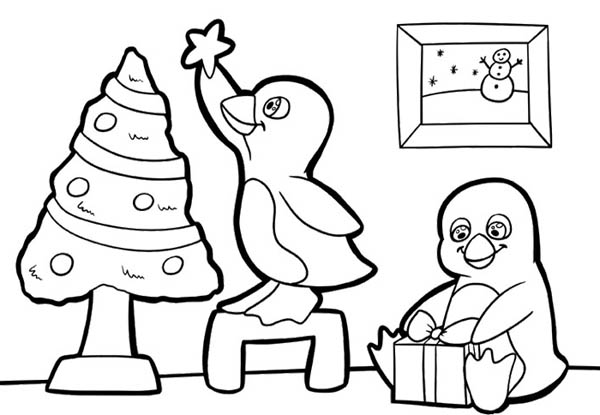 Two Cute Baby Penguins Preparing For Christmas Coloring