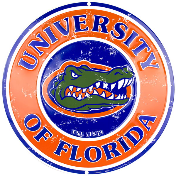 florida gators logo outline. university of florida gators retro collegiate embossed metal circular sign logo outline