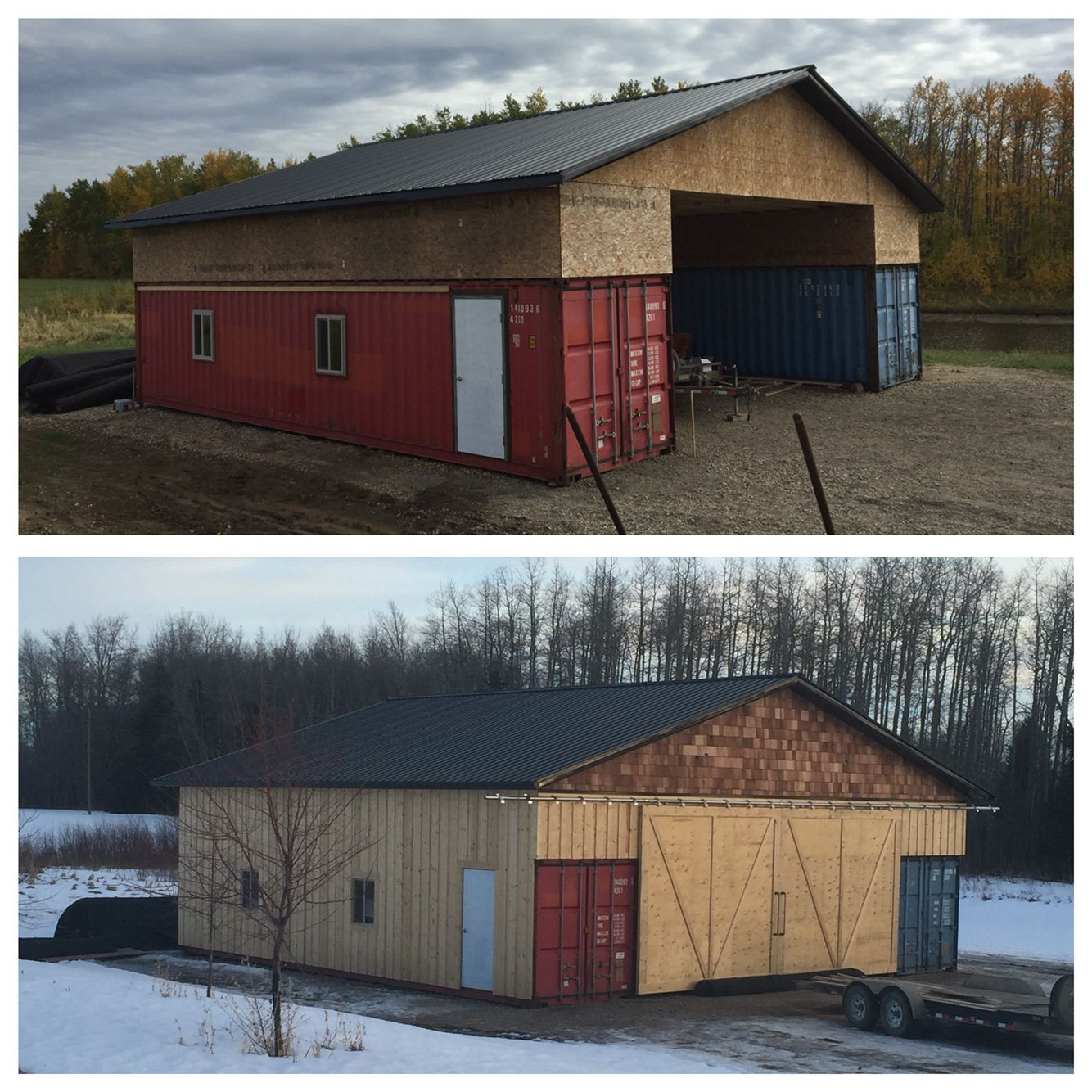 Our shipping container seacan barn alberta canada pole for Garage designs canada