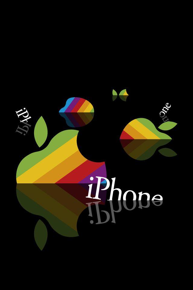 オシャレなアップルロゴ スマホ用壁紙(iPhone用/640×960)