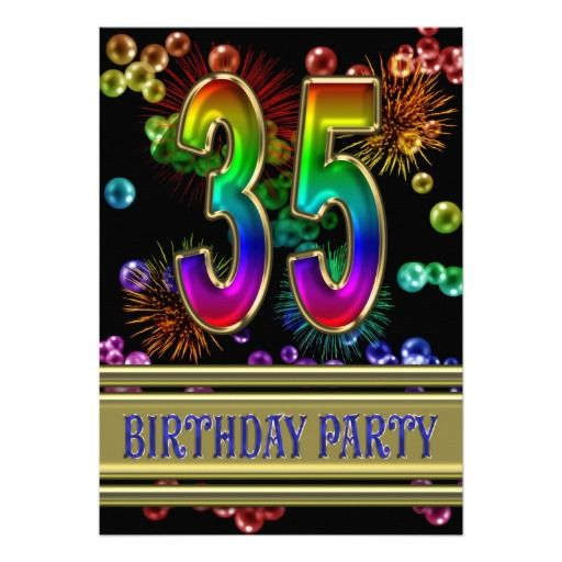 35th Birthday party Invitation with bubbles