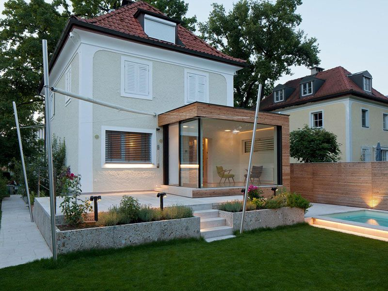 Sleek Glass and Wood House Extension With Matching Swimming Pool ...