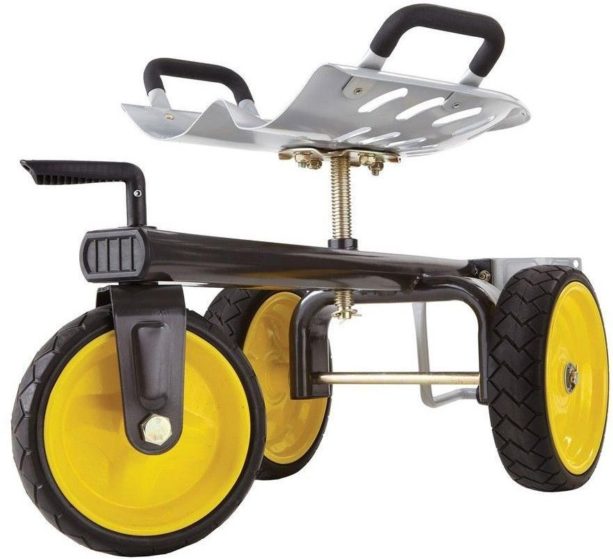 Rolling Garden Scooter Indoor Outdoor Yard Cart No Flat Tires