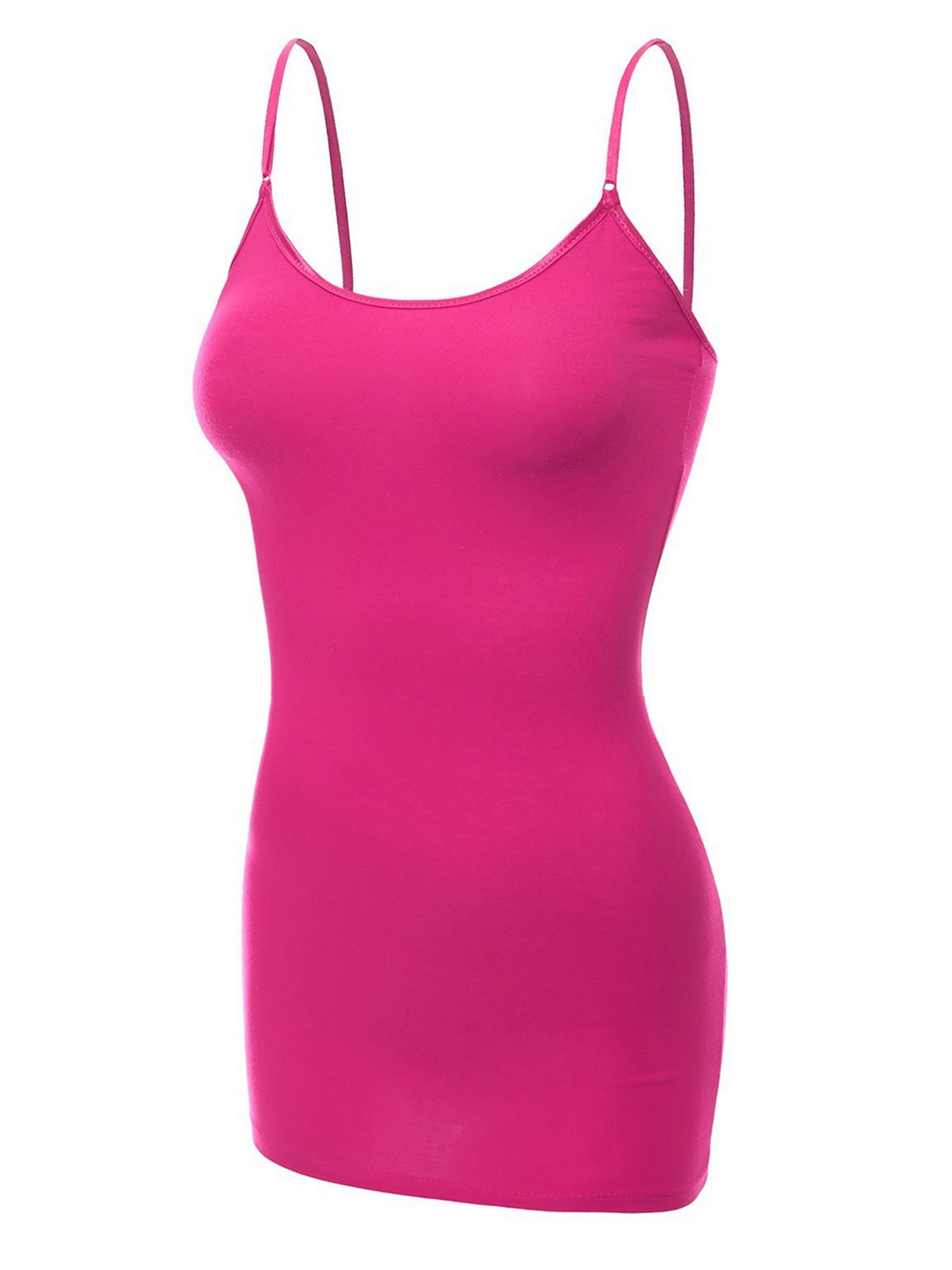deeb1c366f392 Essential Basic Women Basic Built In Bra Spaghetti Strap Layering Cami Top  Tank - Junior Size