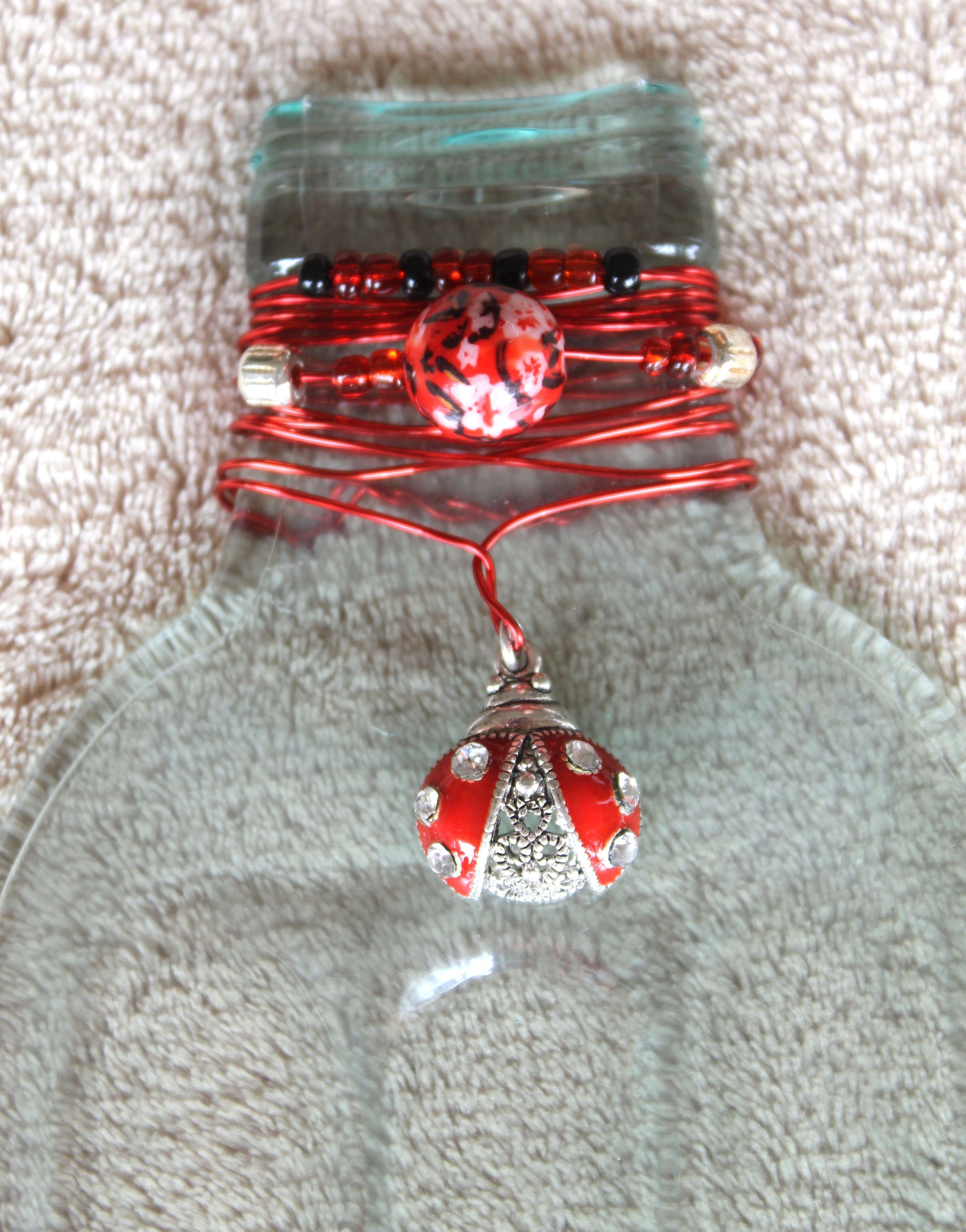 Red Ladybug Melted Wine Bottles Wine Bottle Crafts Wine Bottle Art