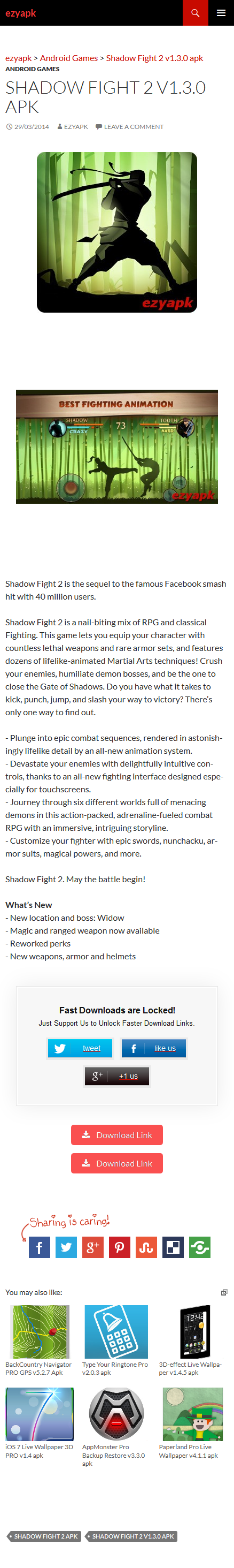 Android Games Shadow Fight 2 v1.3.0 apk - ezyapk Shadow Fight 2 is the sequel to the famous Facebook smash hit with 40 million users. Shadow Fight 2 is a nail-biting mix of RPG and classical Fighting. http://www.ezyapk.com/android-games/shadow-fight-2-v1-3-0-apk/