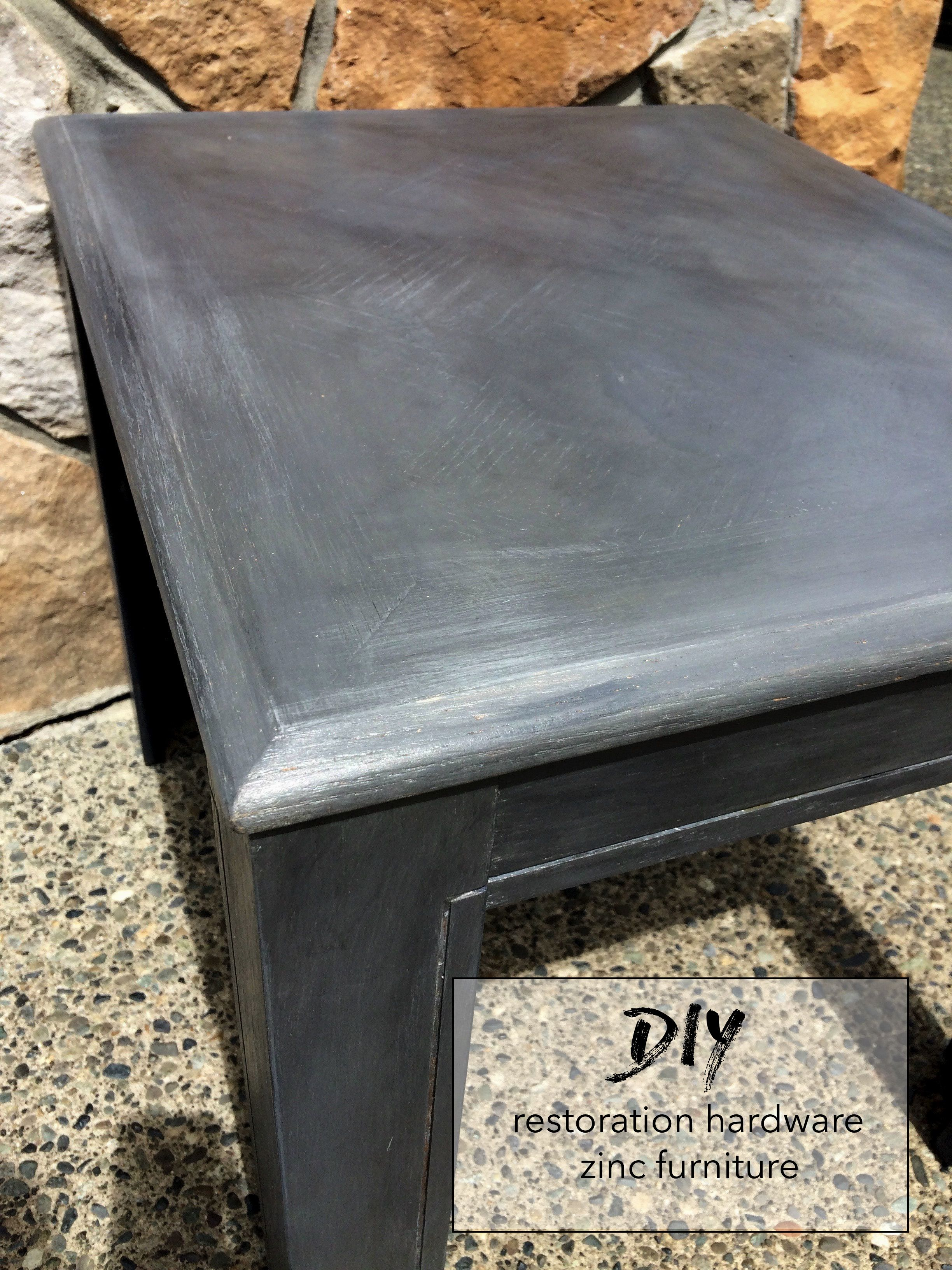 diy refinish table with the restoration hardware zinc look!