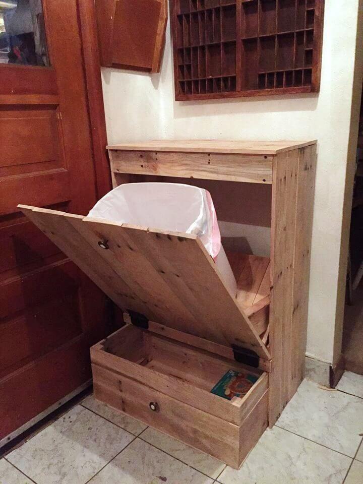 DIY Tip Out Pallet Trash Can Holder images