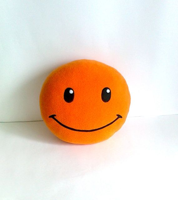 Cushion bright orange Smile round pillow Smiley by PillowsRollanda, $18.00