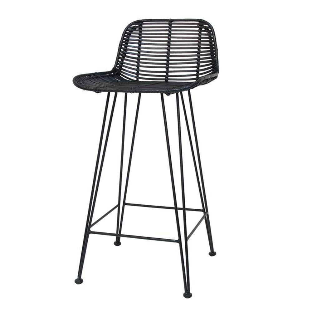 Scandi style rattan breakfast bar stool in black
