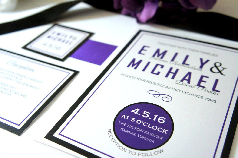 Purple and Black Wedding Invitations, Purple Wedding Invitation ...