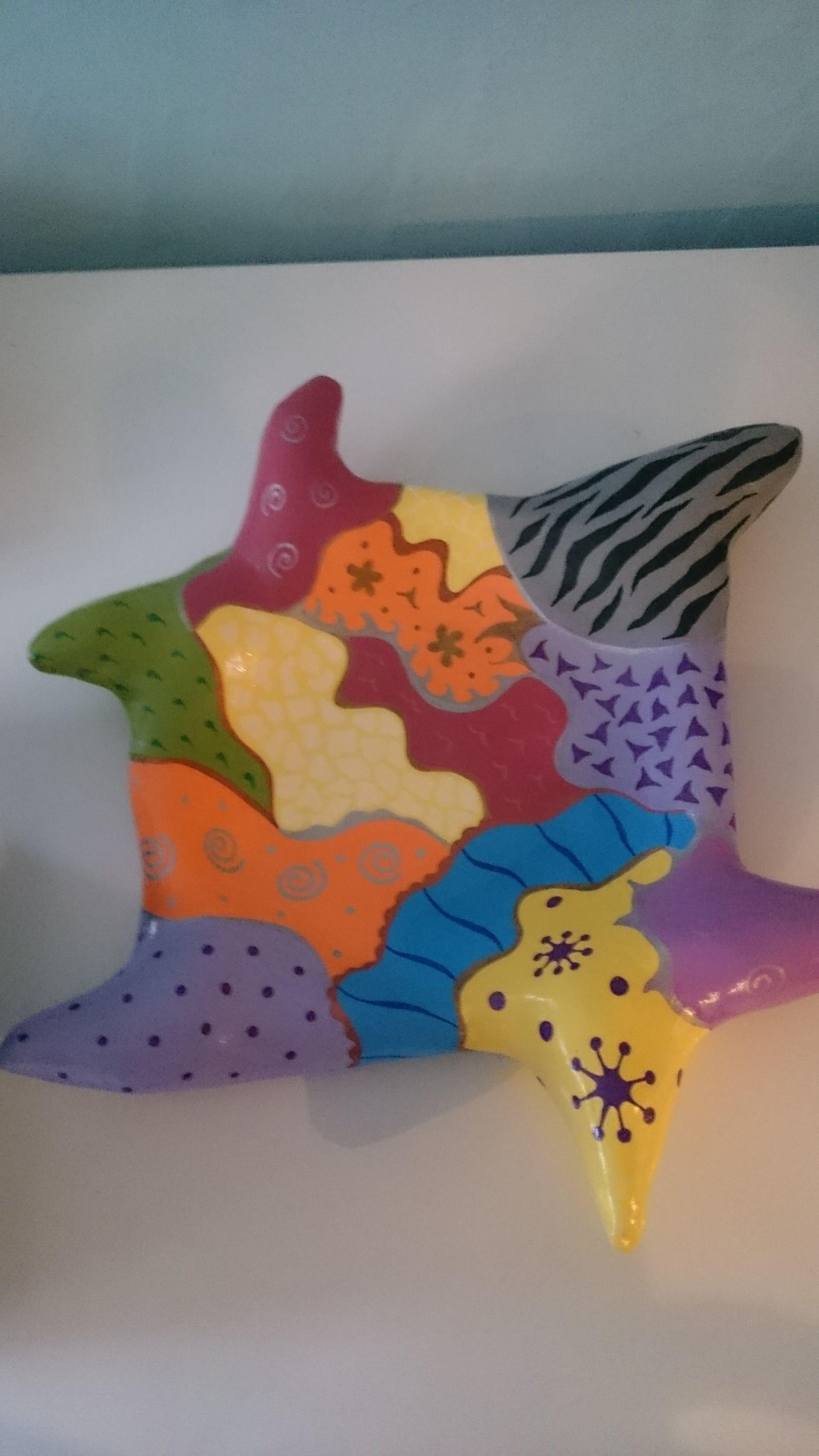 bunte Schale aus Maschendraht u. Baumarktmaterialien, Acrylfarben ...