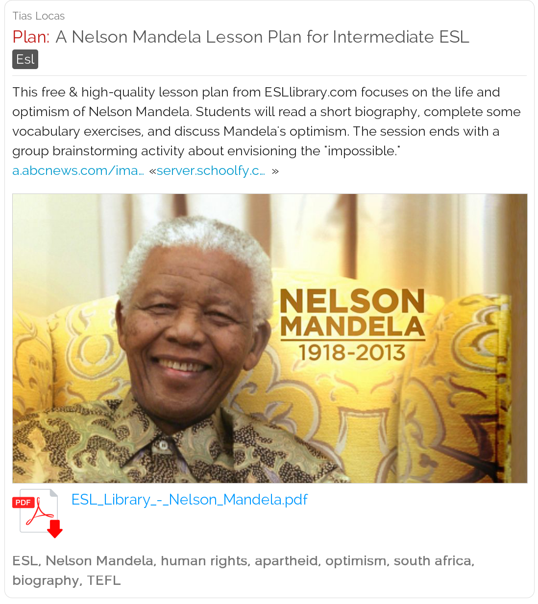 A Nelson Mandela Lesson Plan For Intermediate Esl