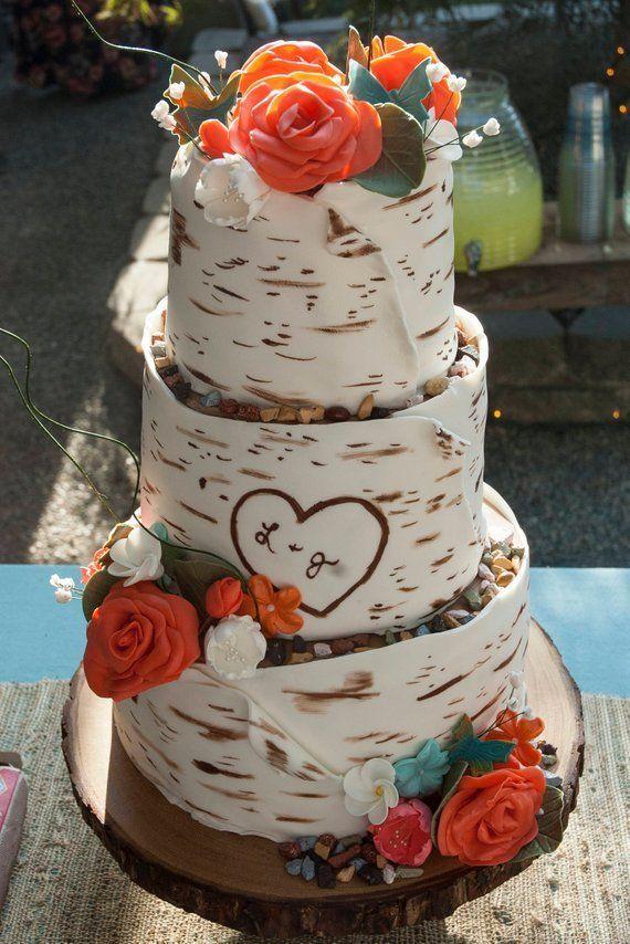 - Rustic Birch Wedding Cake