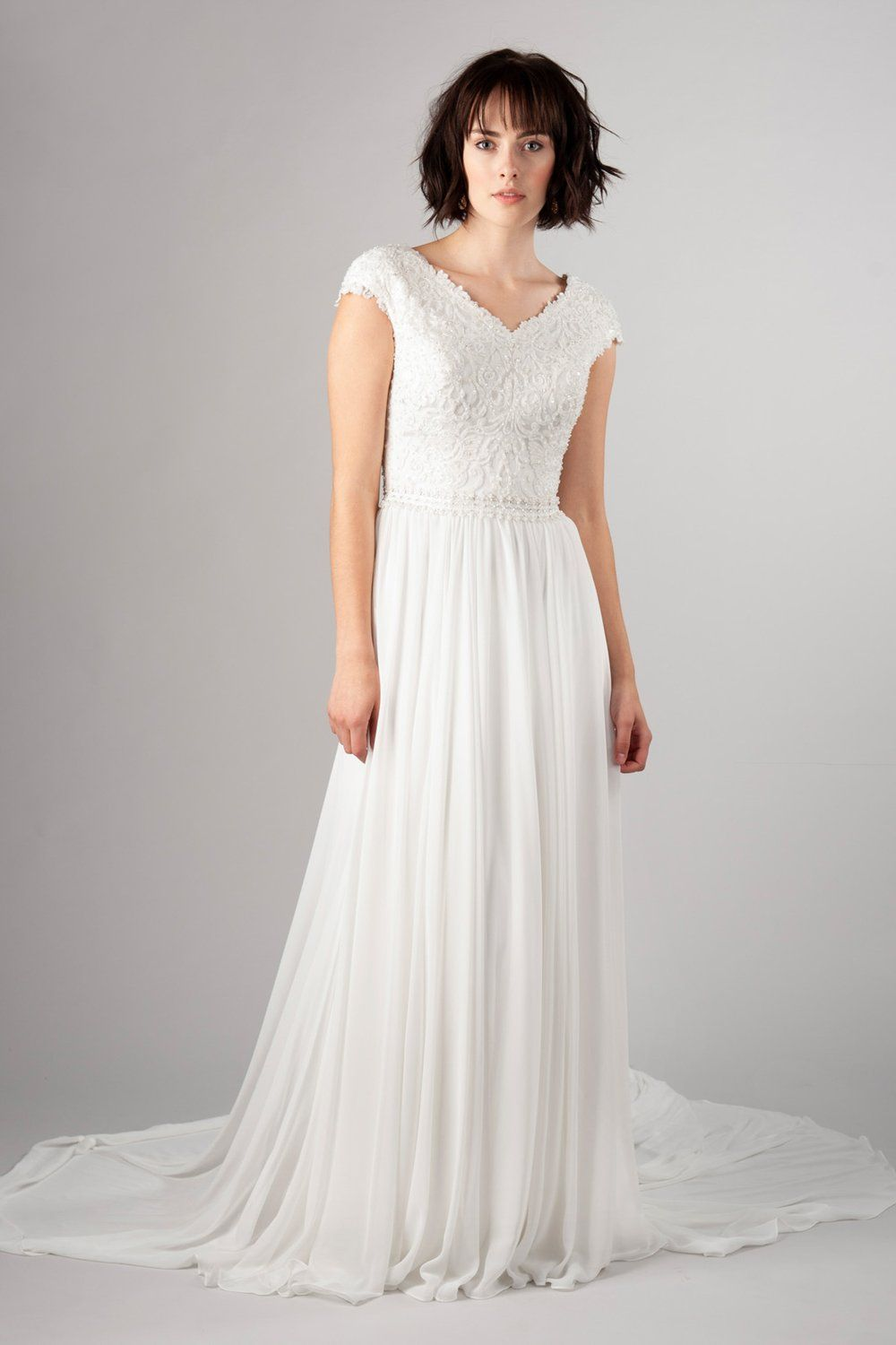 8e0a3971807 Classic meets trendy modest wedding gown