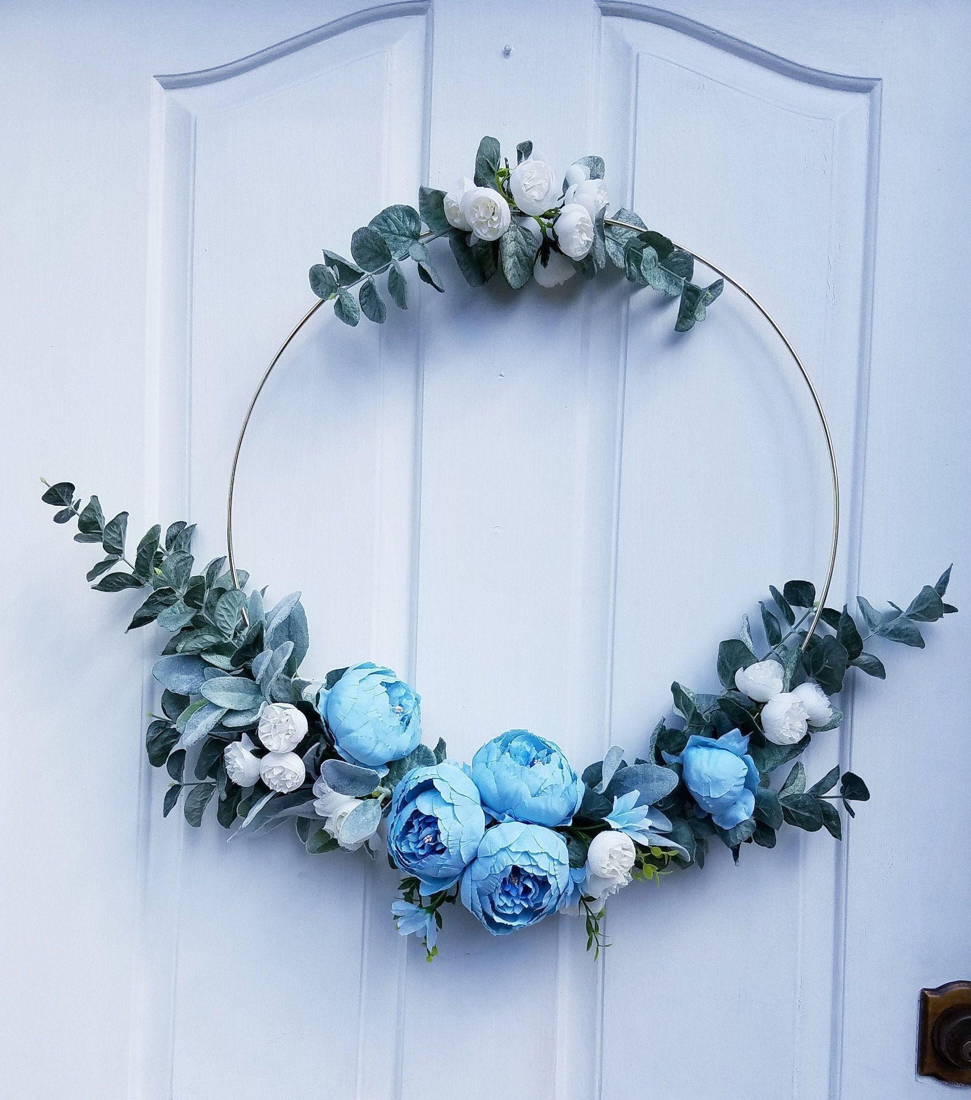 Photo of Modern Hoop Wreath, Blue Hoop Wreath, Floral Home Decor, Front Door Wreath