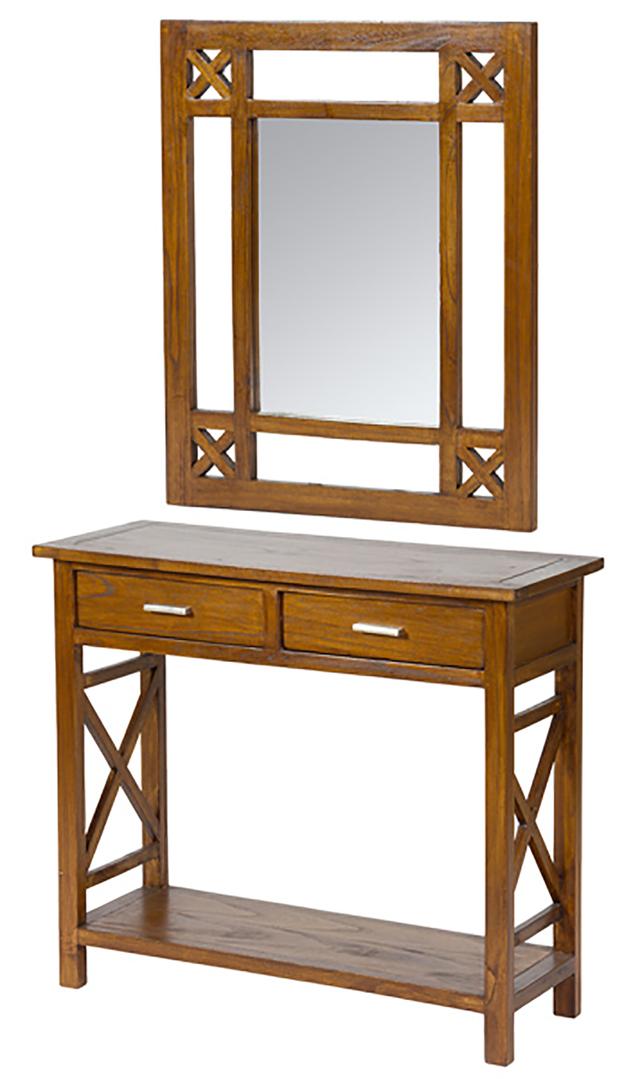 original recibidor rustico en color nogal con espejo regalonia