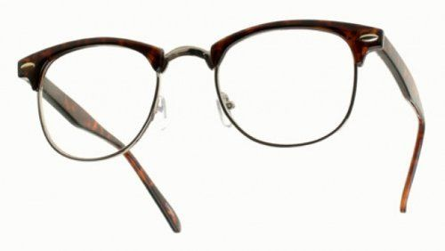 1dfbb6135dc 80 s -  ClubsMen  Half Frame Clear Lens Glasses 80 s.  9.99. Tortoise shell  brow with gold metal trim. Clear