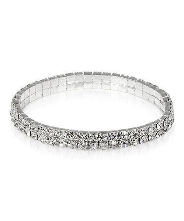 This Cubric Zirconia & Silvertone Double-Row Stretch Bracelet is perfect! #zulilyfinds