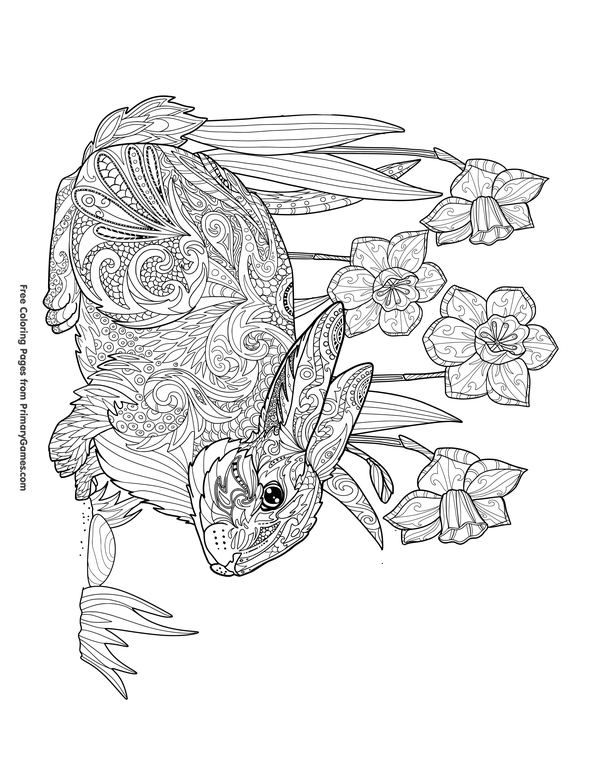 Easter Coloring Pages eBook: Zentangle Rabbit and