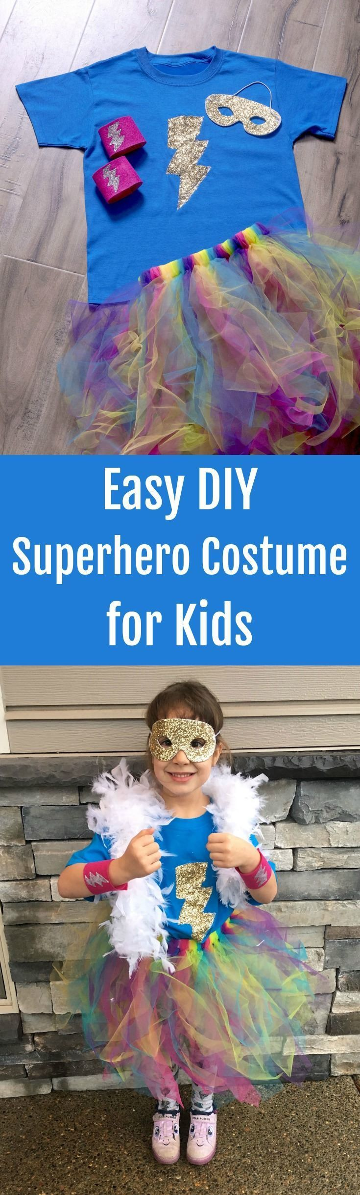 Learn to make a DIY superhero costume for kids - the easy way! This costume is budget friendly and simple for anyone to do. Great for Halloween or Superhero Week at school! Fun for girls, for women, for teens! via @modpodgerocks #ad