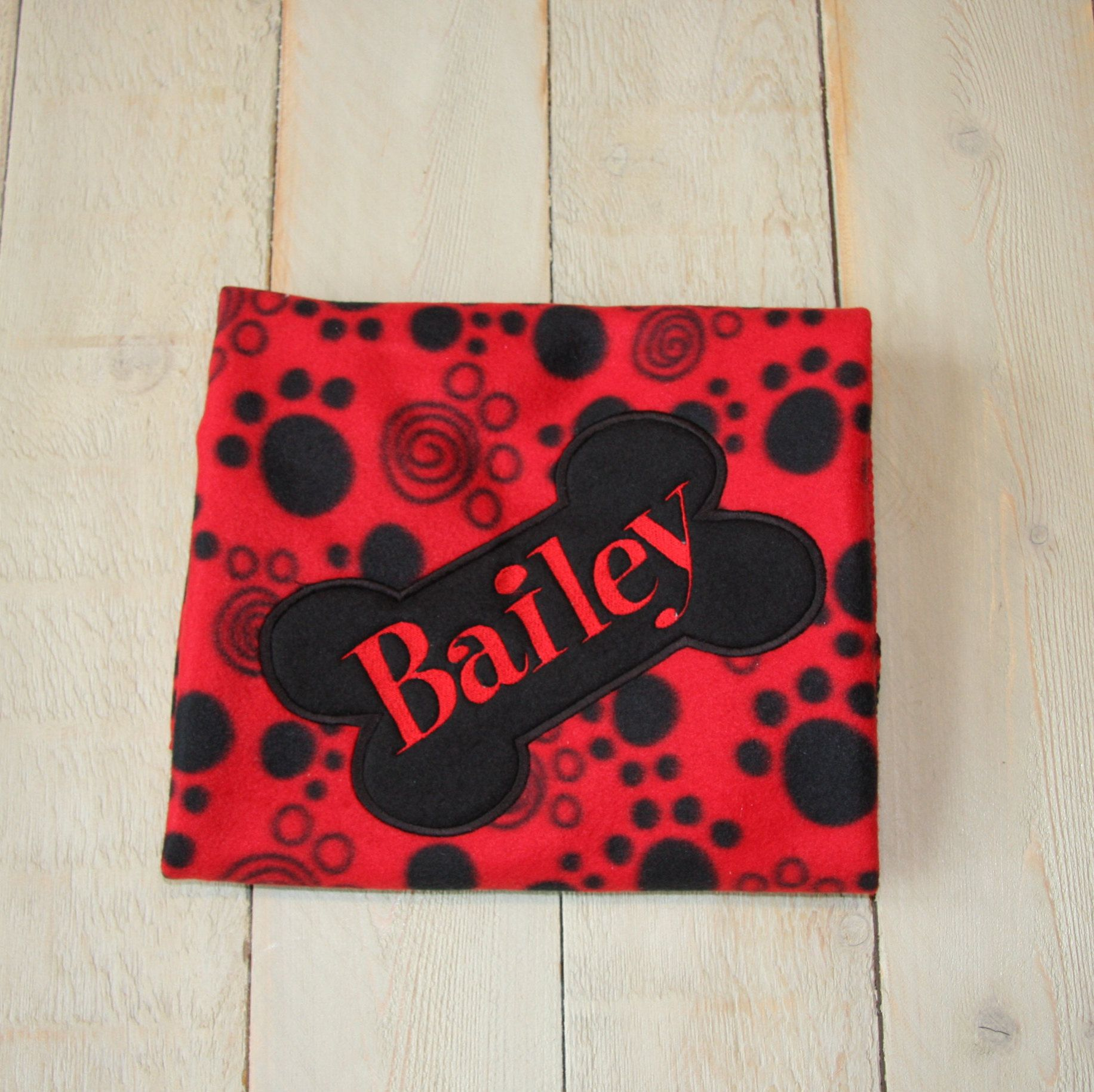 84c35c1c8e1f Personalized Dog Blanket Puppy blanket Paw Print Customized Made to Order Pet  Blanket Embroidered with your dogs name Red Fleece Paw Prints by ...