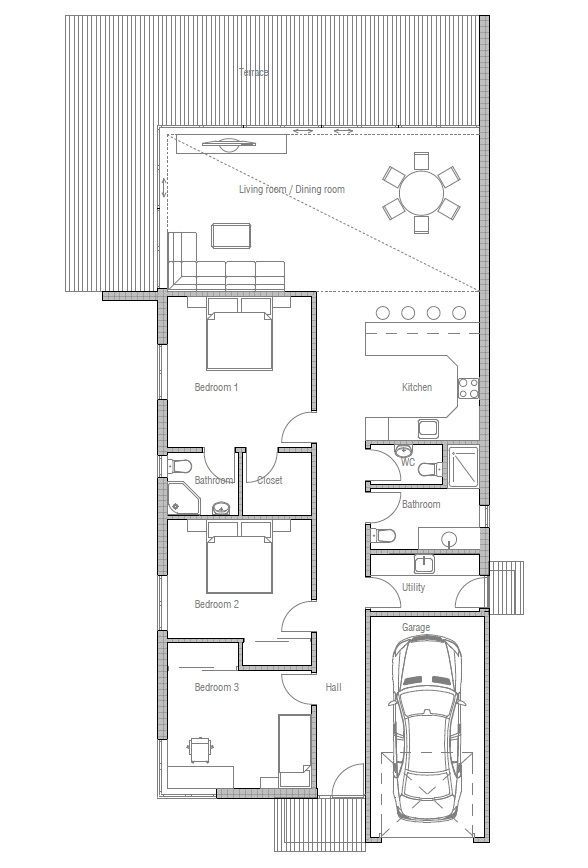Contemporary home plan with three bedrooms. Suits best to narrow lot, big windows and high ceiling in the living area.