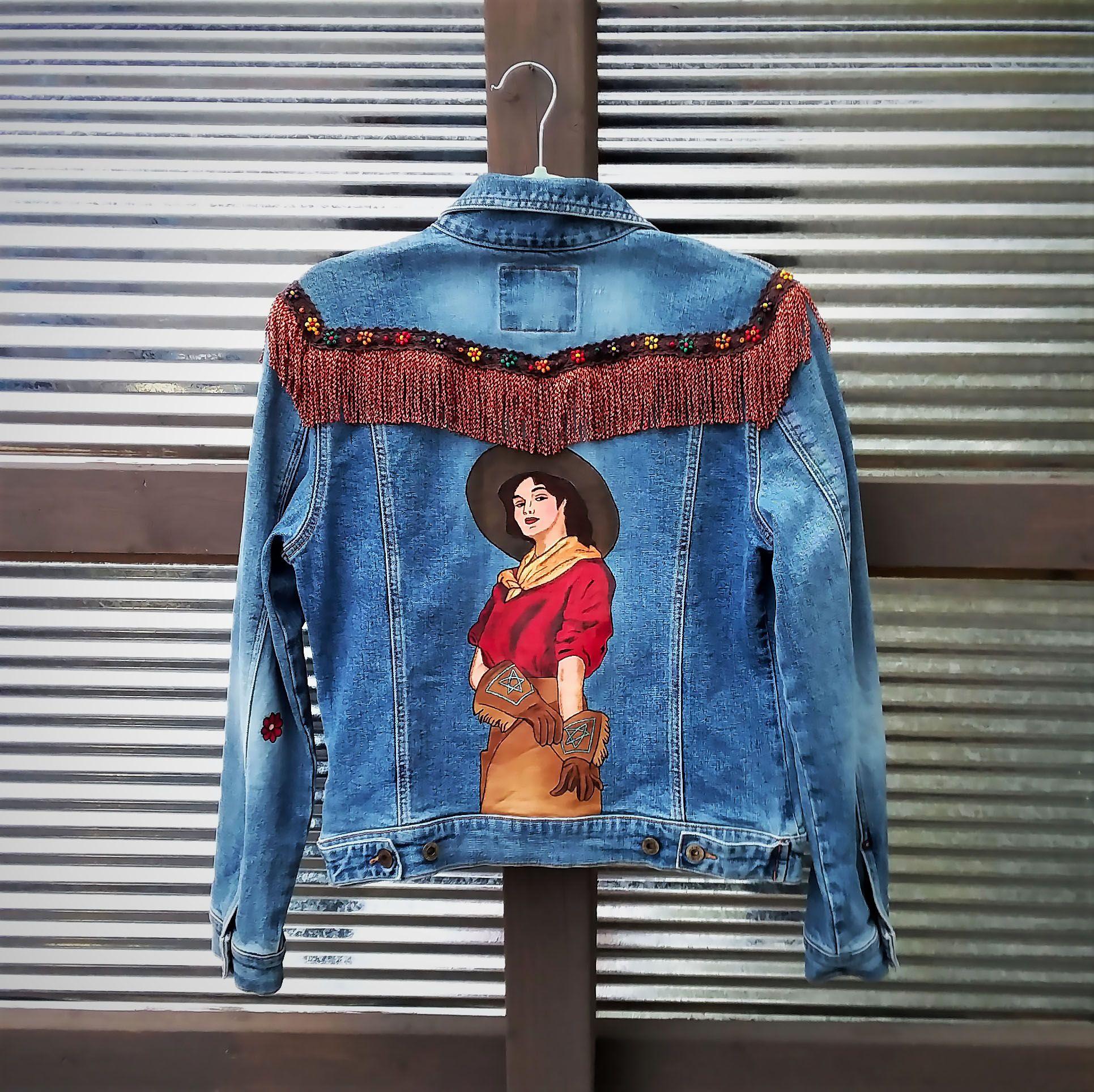 Hand Painted Cowgirl Western Denim Jean Jacket With Fringe By Bleudoor On Instagram Painted Denim Jackets Diy Denim Jacket [ 1928 x 1931 Pixel ]