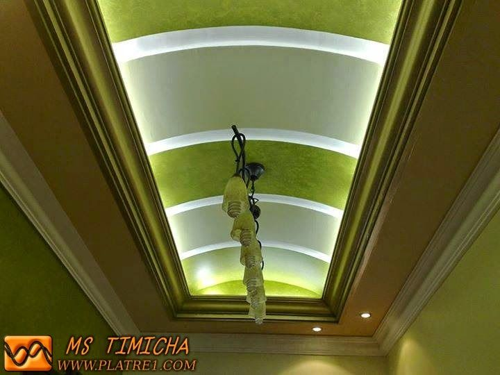Faux plafond platre moderne soci t d coration ms timicha staff couloir - Decoration platre couloir ...