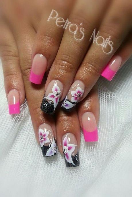 Nageldesign Schwarz Pink Nagel Pinterest