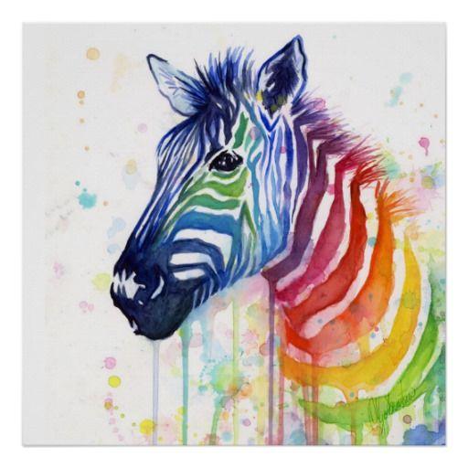 Zebra Rainbow Watercolor Painting Poster Zazzle Com Regenbogen