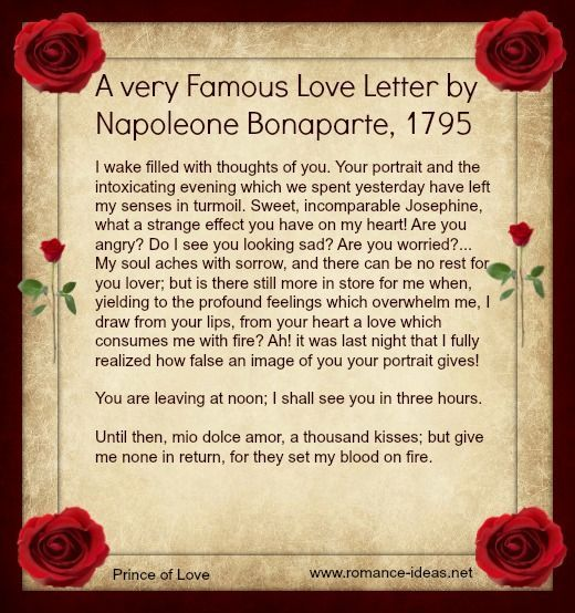By this letter written to Josephine in 1795, The Napoleonic Era - love letters for her