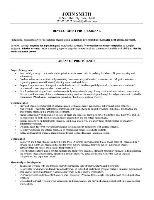 A resume template for a Development Professional You can download