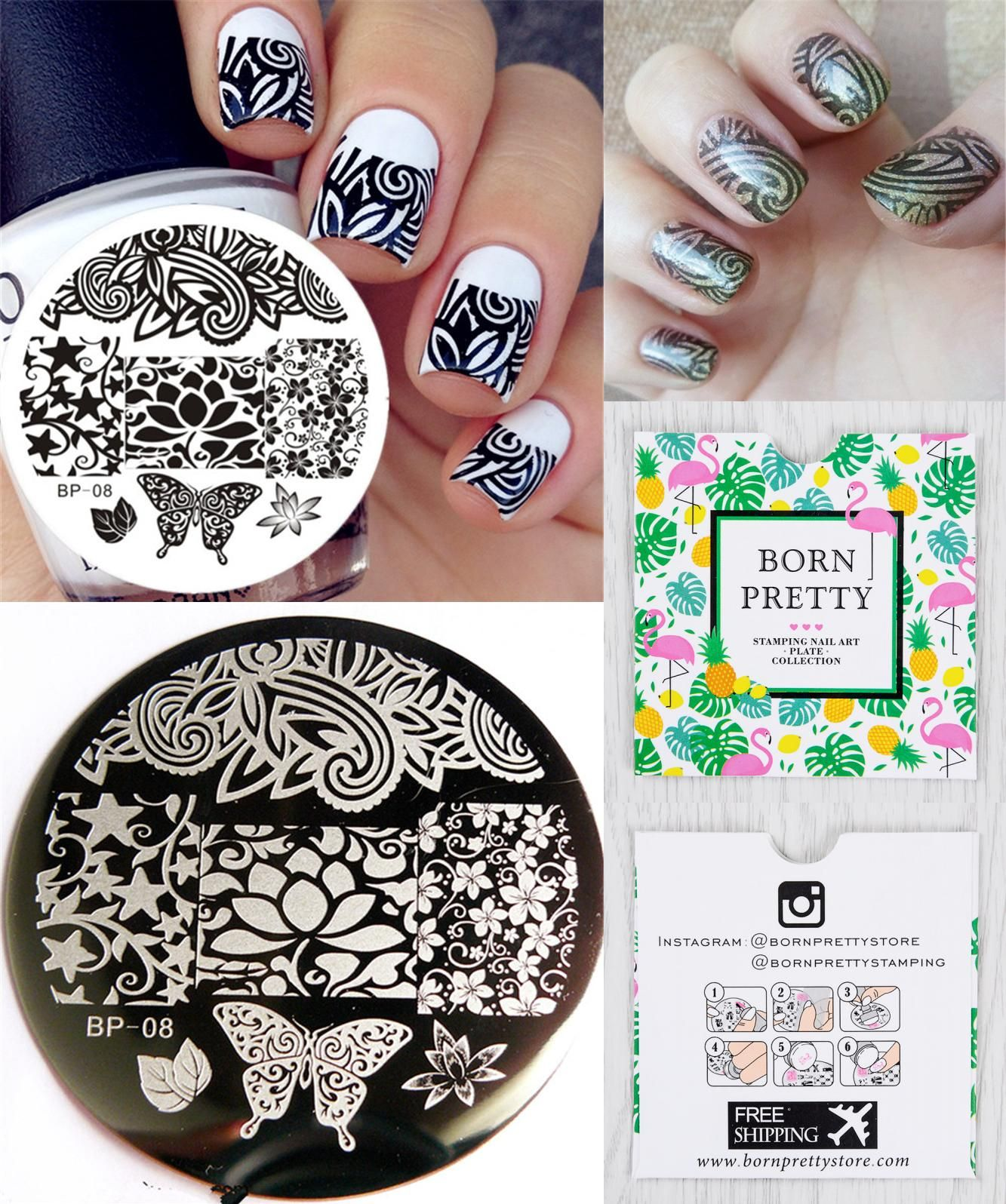 Visit to Buy] Flowers Butterfly Pattern Nail Art Stamp Template ...