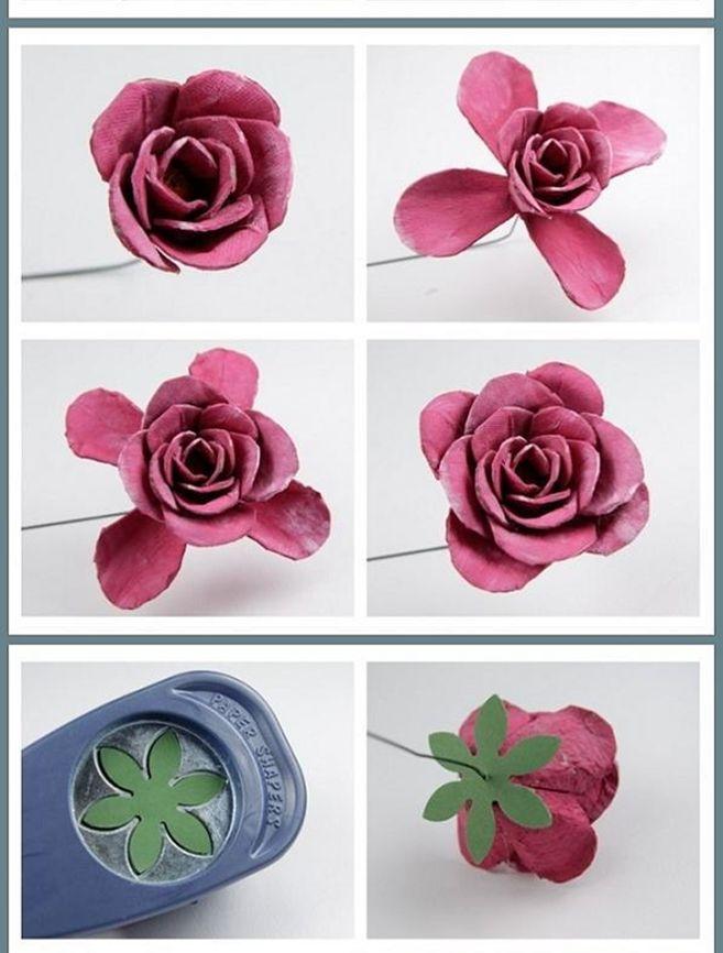 Eu Amo Artesanato Flor De Caixa De Ovos Flores De Papel Diy