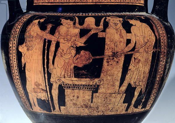 Attic Red Figure Krater Detail Decorated With A Scene Of Vulcan S Forge 5th Century Bc Ceramic Pan Painter C 475 450 Bc M Greek Vases Greek Gods Vase