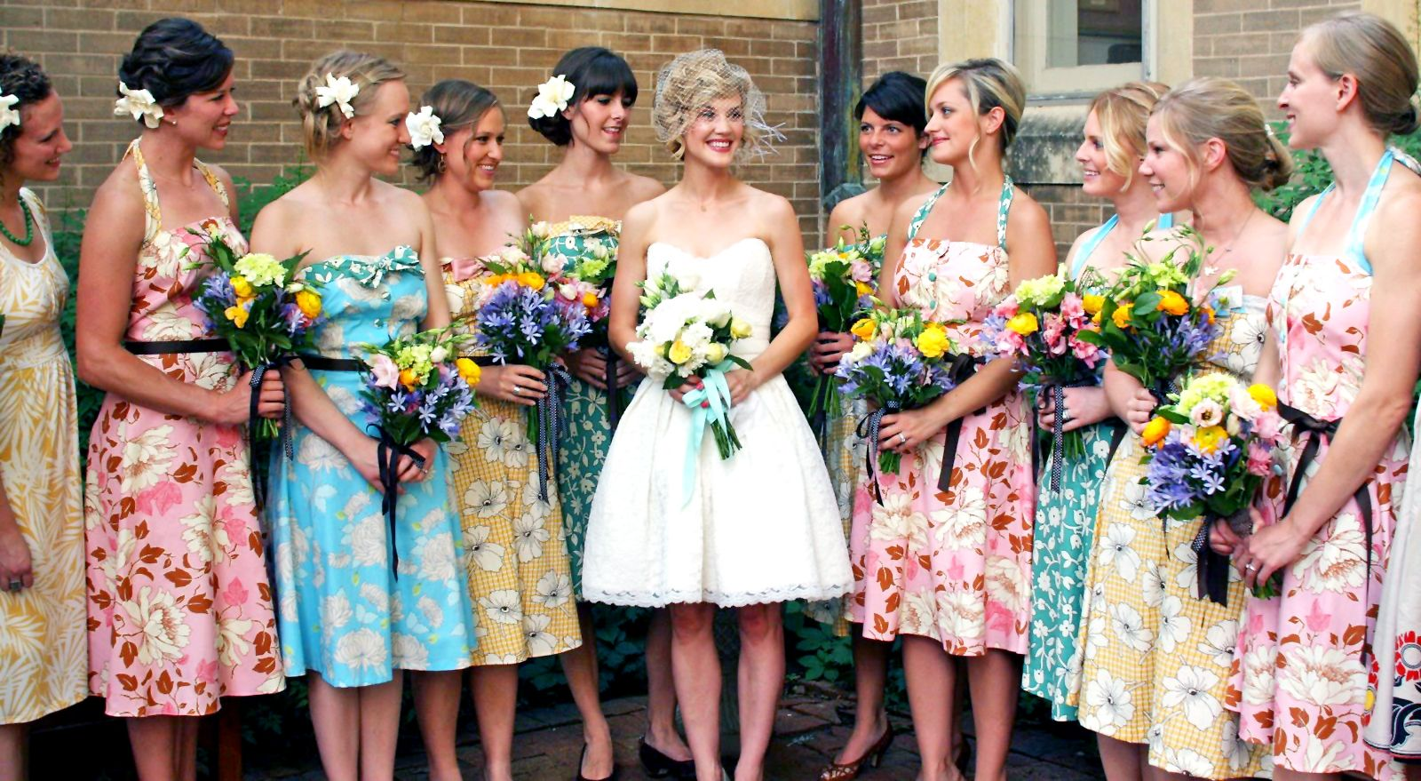 Different color floral print bridesmaid dresses wedding different color floral print bridesmaid dresses ombrellifo Images
