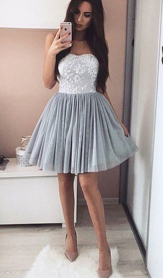 164bf699d56 A-Line Short Appliques Sweetheart Appliques Simple Homecoming Dress short  prom dresses