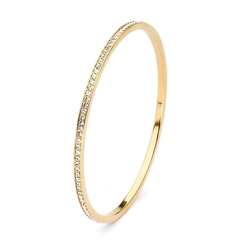 MYJS Ready 16k Gold Plated Magic Bangle Bracelet with Clear Swarovski Crystals cD1DgKcmdE