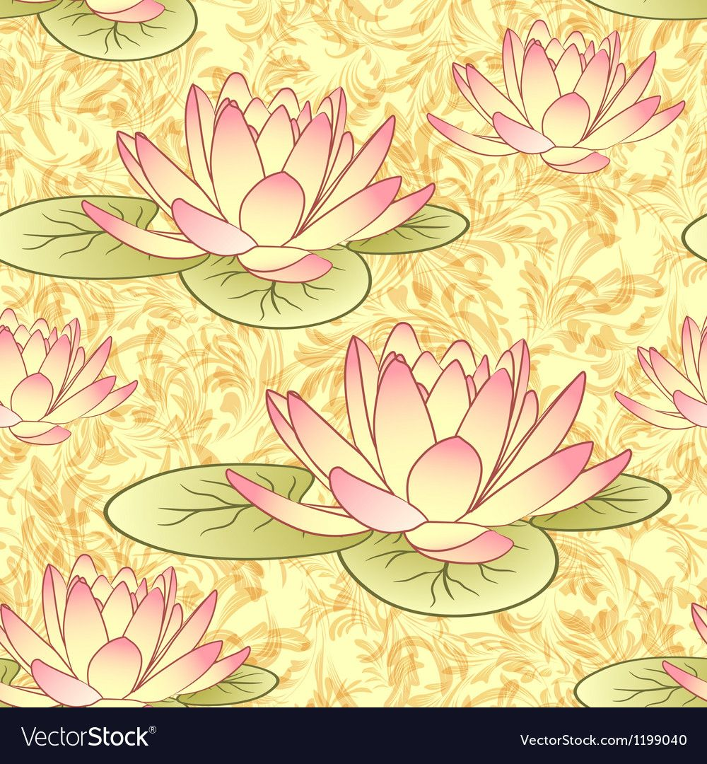 Seamless pattern with lotus flowers Royalty Free Vector