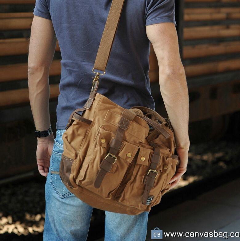 Military Style Canvas Messenger Shoulder Bag Khaki