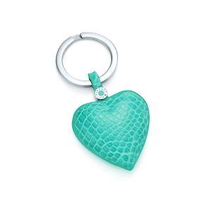 Heart key ring in Tiffany Blue® crocodile.