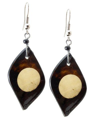 "African Up cycled Bovine Batiked 2-Tone Horn Earrings-(Brown Angel/Off White Circle)-Womens.  Handmade in Africa, hangs 2.5"" long.  NOTE: No animals were harmed in the making of this product.  Great unique gift!  Please review shipping charges and details."