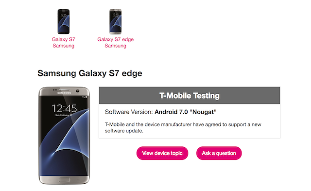 T-Mobile testing Android 7.0 Nougat for the Galaxy S7 and the Galaxy S7 edge https://goo.gl/9JYXYP