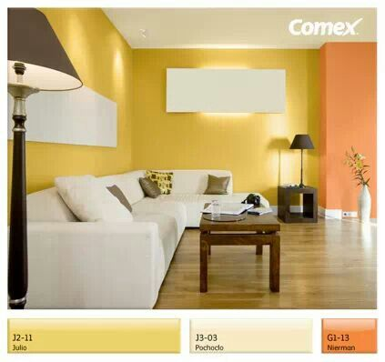 Amarillo y naranja en la sala   TVs   Pinterest   Living rooms ...