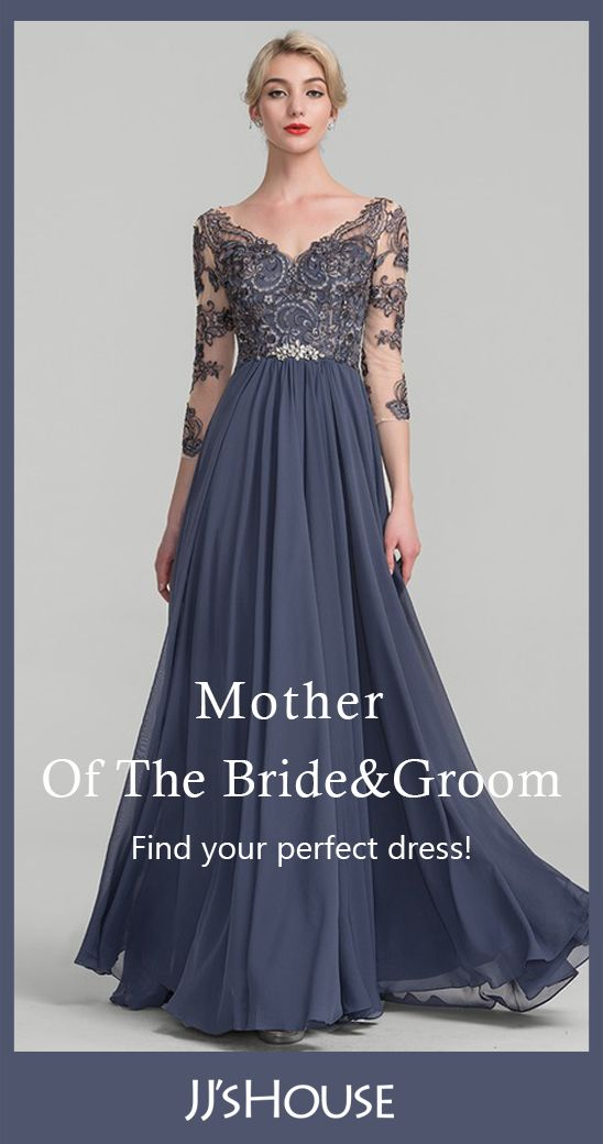 V-neck Chiffon Lace Mother of the Bride Dress | Cheap Mother of the Bride & Groom Dress