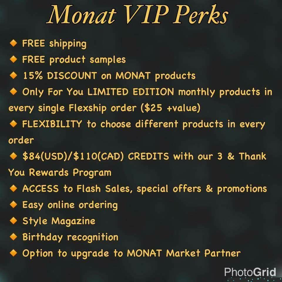 a VIP today and save money! Monat actually works