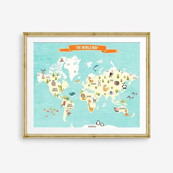 World map decal world map animals world poster map compassion world world map decal world map animals world poster map compassion world map wall decal kids room nursery decor pdf digital printable 16x20 gumiabroncs Images