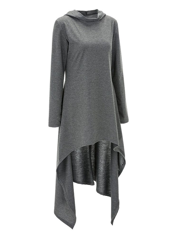 c6f49c1a10 Casual Solid Color Hooded Irregular Hem Stylish Trendy Chic Long Women Sweatshirt  Sweater  womensweater  womenssweater  womensweatshirt  womenssweatshirt
